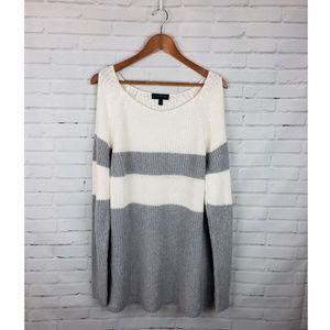 Lane Bryant White & Gray Cold Shoulder Sweater